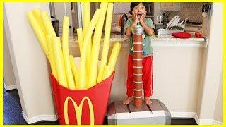 Kid eats Giant McDonald's Fries Accident! Pretend Play Food with McDonald's Drive Thru Prank