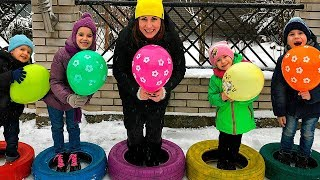 Five Little BABIES Jumping WITH BALLOONS Songs for children JoyJoy Lika