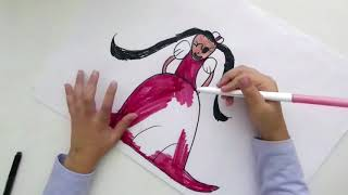 Doodling a princess like Peach with Crayola Markers for kids