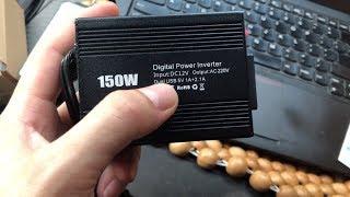 Dùng thử kích điện 220V 150w trên xe ô tô để sạc máy tính và sáng đèn LED