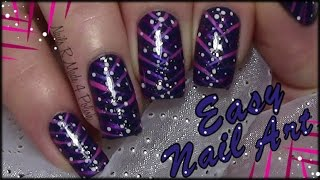 Easy Stripy Nail Art Design with Glitter & Dots for Beginners (tutorial for short & long nails)