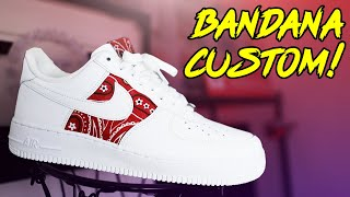 NIKE AIR FORCE 1 'BANDANA' CUSTOM TUTORIAL! (EASY)
