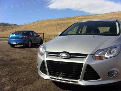 2012 Ford Focus versus Mazda 3 Mashup Review & 0-60 MPH Test