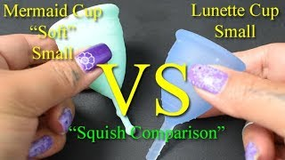 """Mermaid Cup Soft vs Lunette Cup Small """"Squish"""" - Menstrual Cups"""