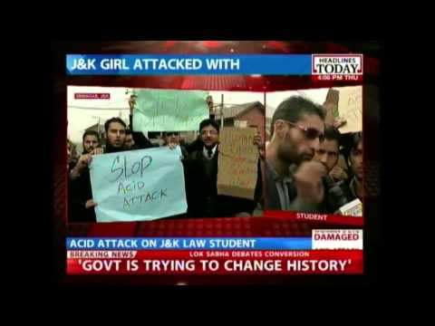 Srinagar: Kashmir University students protest against acid attack on law student