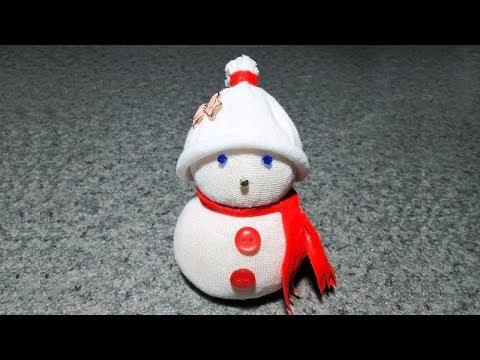 Снеговик из носка за 5 минут без шитья. Поделки на Новый Год