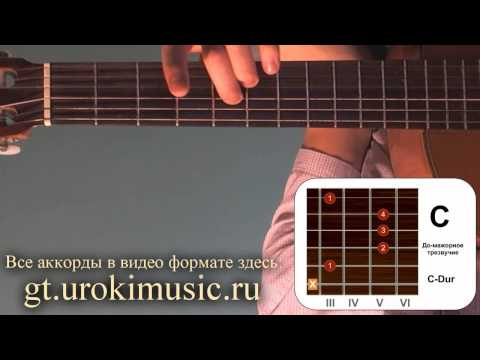 C-dur. До мажор. Аккорд C. Позиция 3. Уроки игры на гитаре. Обучение на гитаре