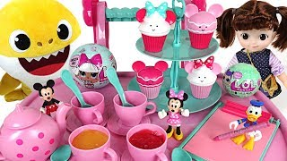 Minnie treat cart! Sweet cupcakes, Make tea! and The eggs are hidden. Let's find it ! - PinkyPopTOY