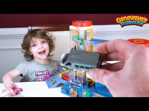 Best Learning Video for Kids Learn Colors Cute Toddler Genevieve Plays with Tomica Toy Cars Playset!