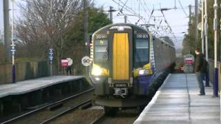 Scotrail Siemens 380 class numbers 380001+380102 on 16.08 to Ayr at Barassie on 3 Feb 2012.mpeg