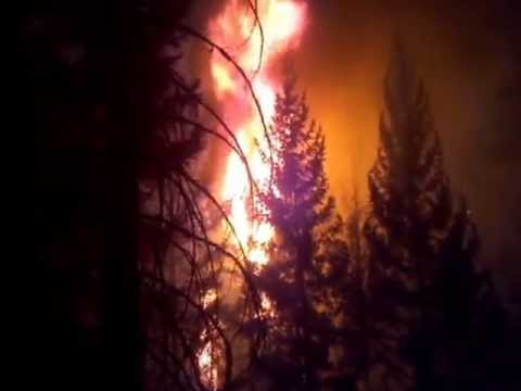 US 97 - Mile Marker 28 Fire footage