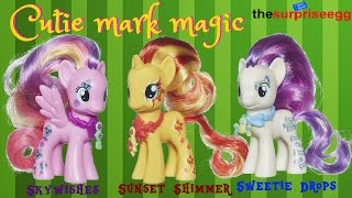 My Little Pony Cutie Mark Magic Skywishes, Sunset Shimmer, Sweetie Drops figure Toys Review unboxing