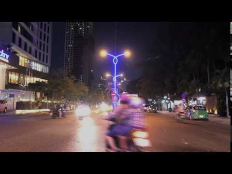 Timelapse of night traffic on asian road, stock video