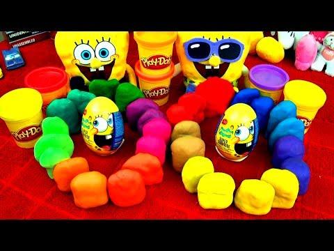 30 Playdoh Surprise Eggs SPONGEBOB Angry Birds Spiderman Dora Disney Pixar Cars Toys Toy Story Shrek