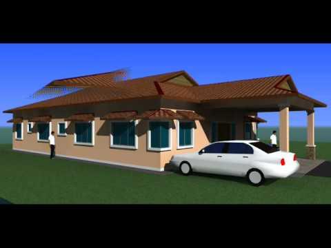 Visual 3D Cadangan Rekabentuk Banglo 1 Tingkat di Temerloh Pahang