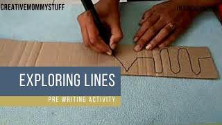 Exploring lines | pre-writing activity for preschoolers | DIY activity