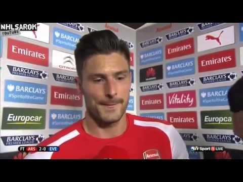 Arsenal vs Everton 2   0   Olivier Giroud & Alex Oxlade Chamberlain post match interview
