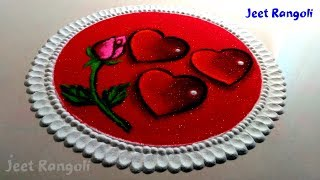 3D and transperent effect valentine special rangoli.