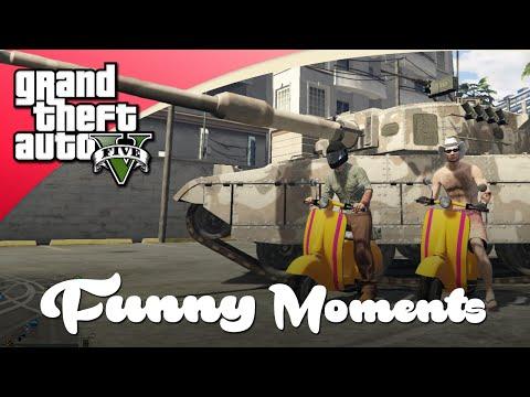 GTA V Funny Moments - Sterke Tank Vs Mini Scooters!
