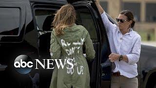Melania Trump's jacket causes stir on social media