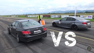Mercedes E63 AMG VS BMW M5 - DRAG RACE!