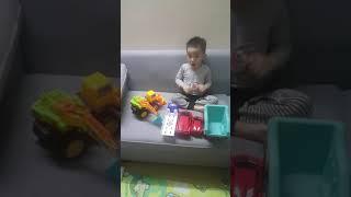 Bé Gấu chơi ô tô đồ chơi ở nhà