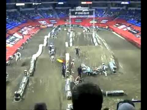 Wilkes-Barre, PA Arenacross. Rider cross ruts and bails causing a nasty pile up and red flag.