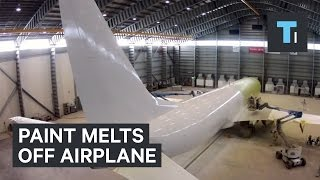 Watch as paint melts off this airplane