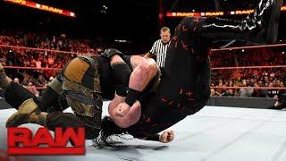 Braun Strowman drives Kane through the ring: Raw, Nov. 13, 2017