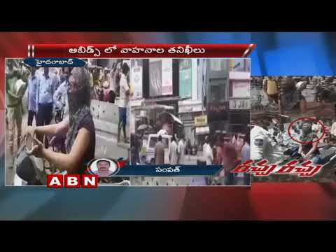 Woman Arguing With Traffic Police at Abids for Not Wearing Helmet