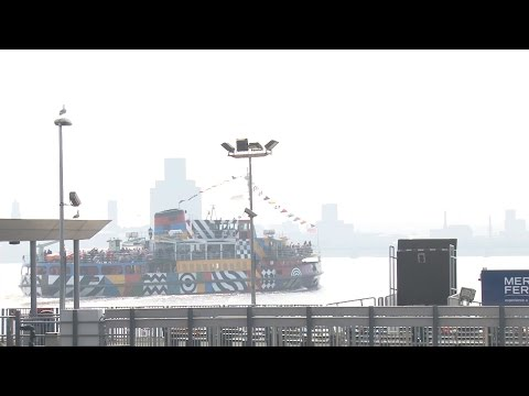 """Liverpool's Mersey ferry """"dazzles"""" on the River Mersey with Royal Navy ships"""