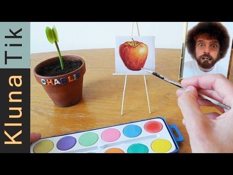 Eating paint and brushes!! Kluna Tik Dinner #29   ASMR eating sounds no talk Bob Ross