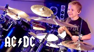 """""""Shoot To Thrill, AC/DC"""" Avery 7 year old Drummer"""