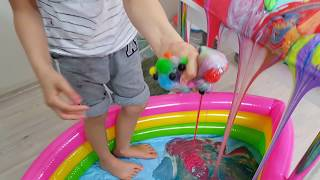 Slime Şelalesi Transformation of Slime Waterfall into MEGA Slime Soup, Kids Video