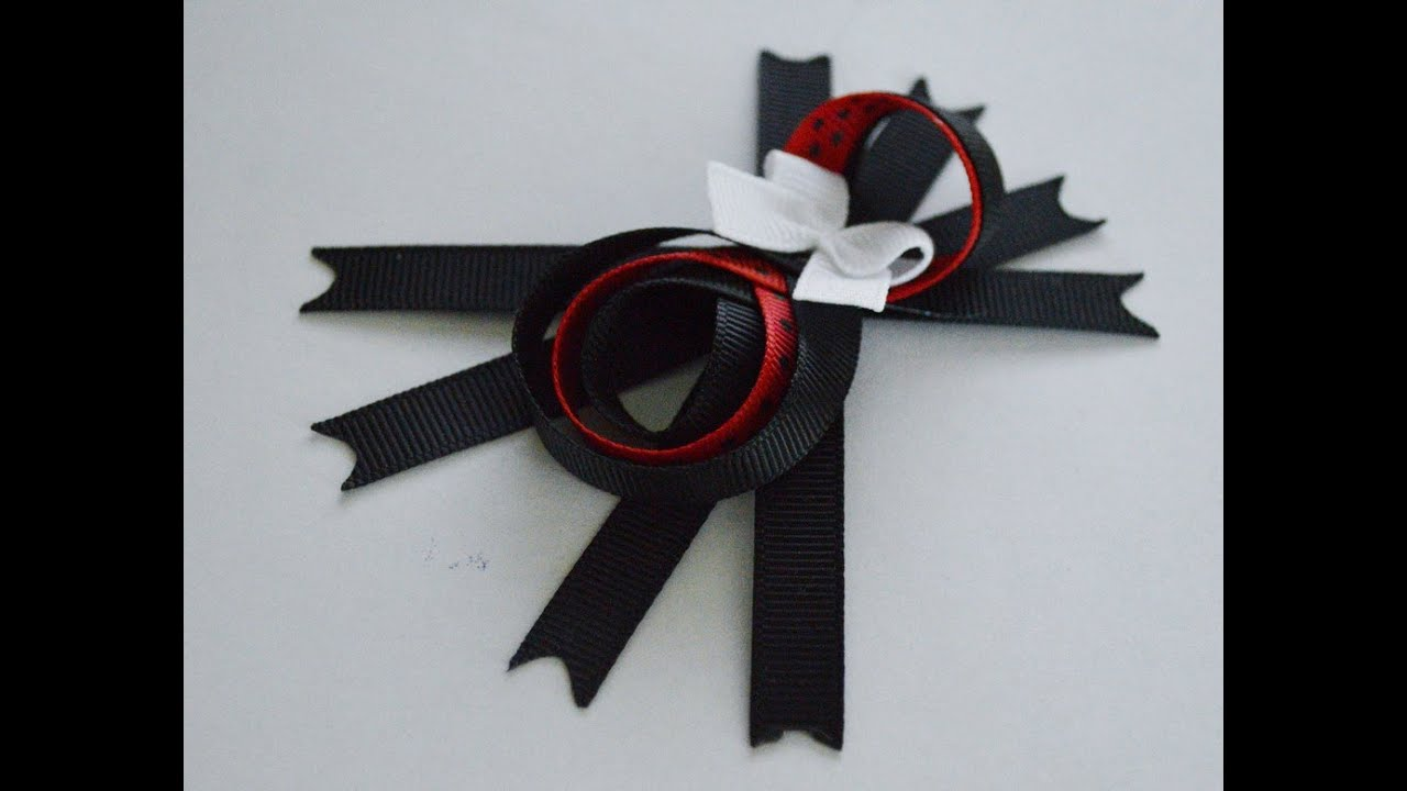 #2 BOW SPIDER Ribbon Sculpture Halloween Holiday Hair Clip