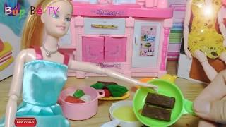 Bup be baby công chúa tóc dài nấu ăn trong tòa lâu đài mầu hồng