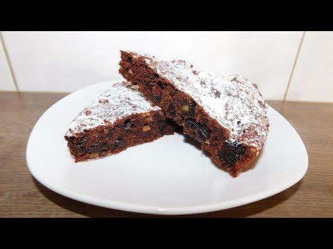 🔴Постный какао пирог с черносливом и орехами
