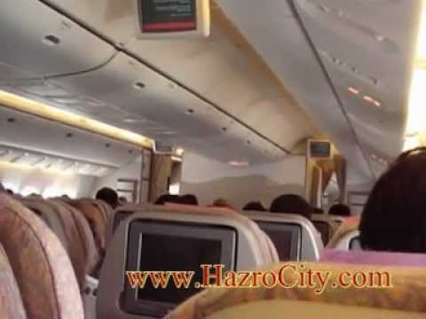 Karachi to Dubai, Emirates Airlines, Boeing 777. (Full video) 02.02