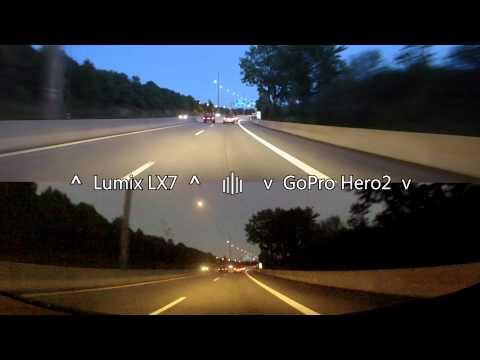 Panasonic Lumix LX7 vs GoPro Hero2 low light driving on Autobahn