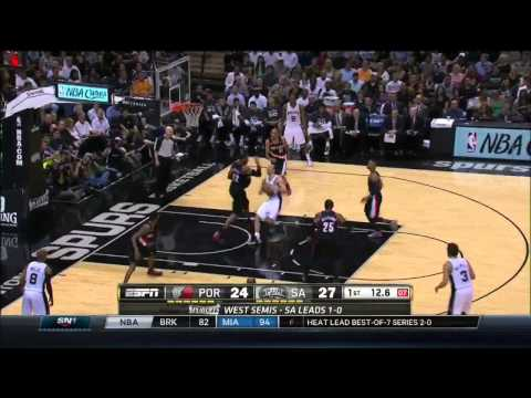 NBA, playoff 2014, Spurs vs. Trail Blazers, Round 2, Game 2, Move 12, Manu Ginobili, layup