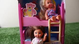 Barbie Chelsea Cinderella Princess Bunk Bed Morning Routine for School Barbie rosa Quarto