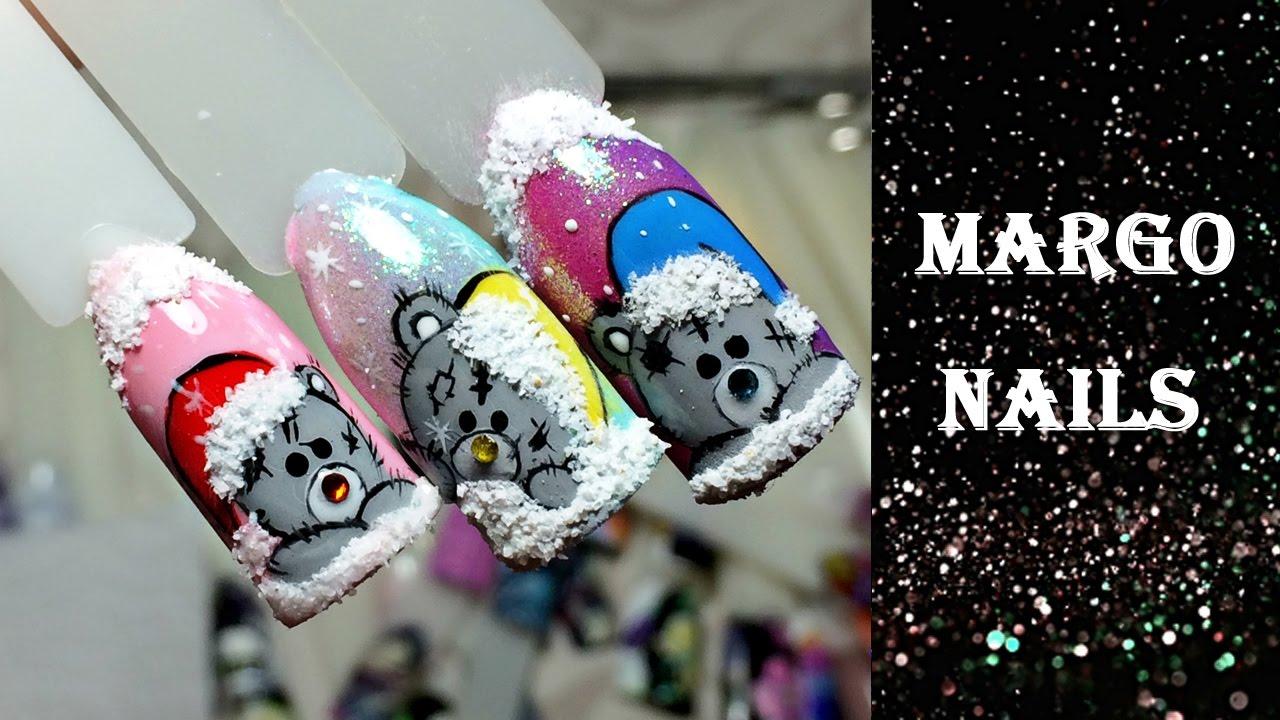 Маникюр с новогодними мишками тедди фото