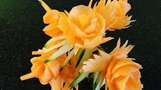 Art In Carrot Show – Vegetable Carving Carrot Flowers – Carrot Roses Garnish