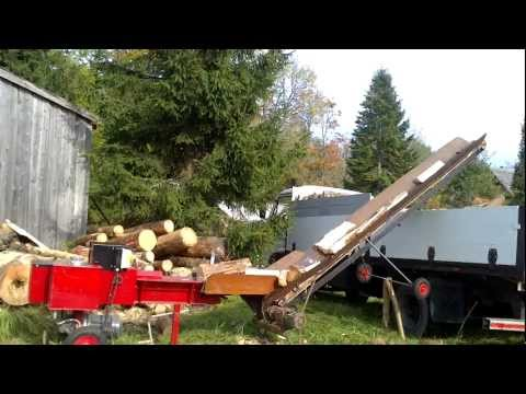 Log Splitter (improved) and homemade conveyor.