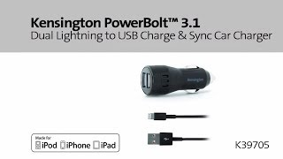 Kensington PowerBolt 3.1 Dual Lightning to USB Charge and Sync Car Charger