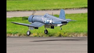 MOKI 250cc RC WW2 CORSAIR & YAK 11 - FORCED LANDING AT BMFA NATIONALS - 2017