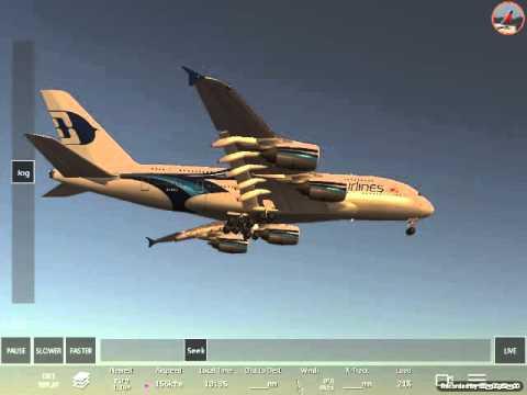 Infaniteflight crashes A380 Qantas Malaysia 747KLM