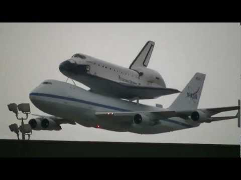 September 19th 2012 arrival of Space Shuttle Endeavour at NASA Johnson Space Center Ellington Field Houston. It's final flight into retirement.