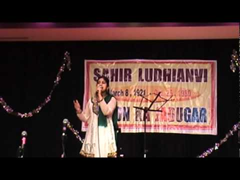 Anusha singing Jaate Ho To Jao at Rooh-e-Sahir event in Boston