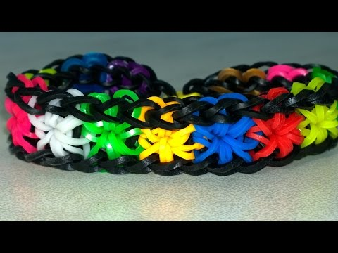 Rainbow Loom Starburst Bracelet with two forks. Very Easy! Colorful Rubber Ban